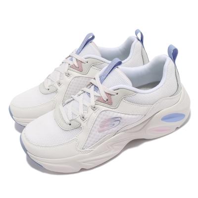 Skechers 休閒鞋 Stamina Airy 老爹鞋 厚底 女鞋 撞色 異材質拼接 皮革 穿搭推薦 白 藍 149622WPLB