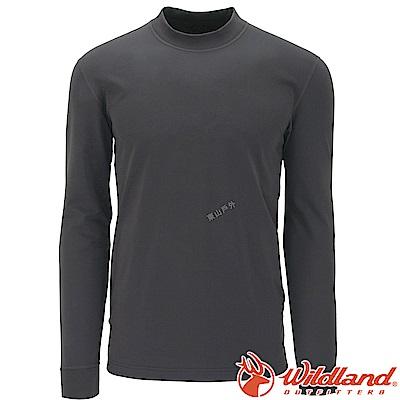 Wildland 荒野 W2652-93深灰色 男遠紅外線保暖中領衛生衣
