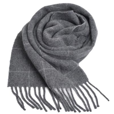 RALPH LAUREN POLO 義大利製小馬刺繡雙面格紋羊毛圍巾(淺灰色)