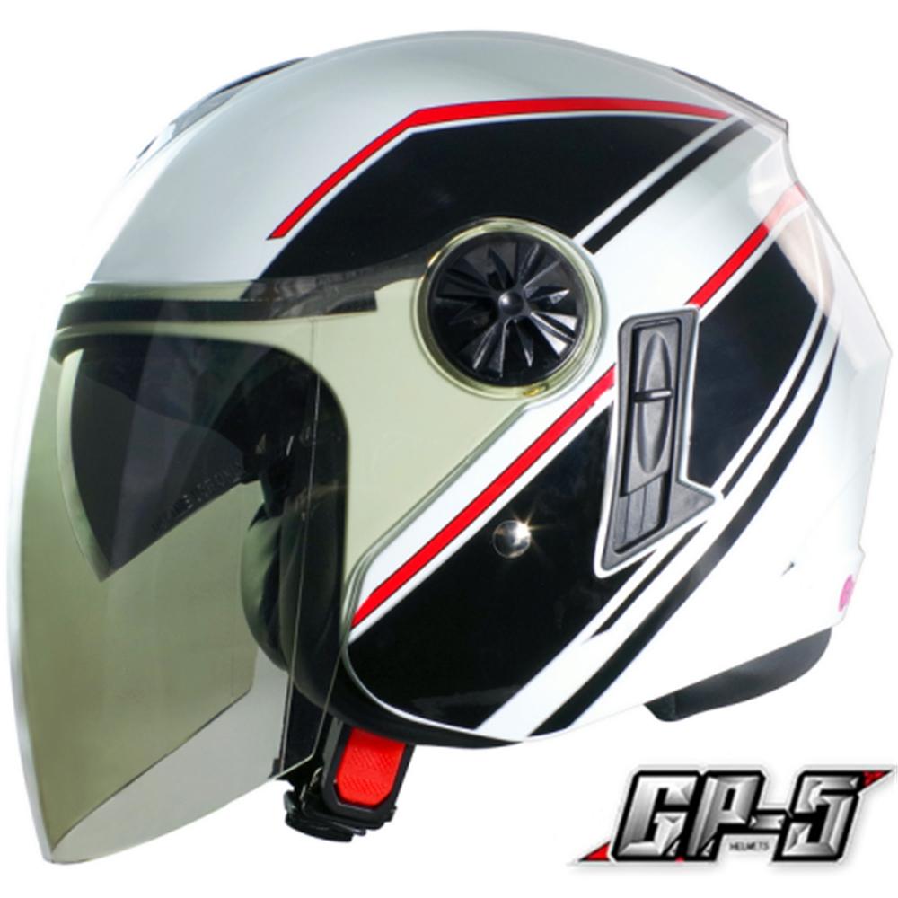 【GP-5】簡約 安全帽 雙鏡片│導流通風設計│機車│內襯│開放式安全帽│內墨鏡 (白黑)