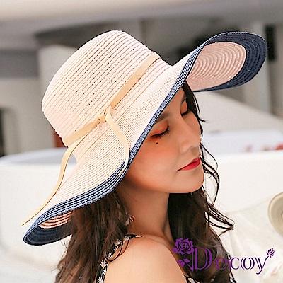Decoy 輕奢雙色 夏季渡假編織防曬遮陽草帽 粉藍