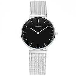 TAYROC 英式簡約時尚米蘭帶手錶-黑X銀/40mm