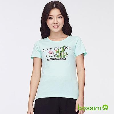 bossini女裝-印花短袖T恤36湖水藍