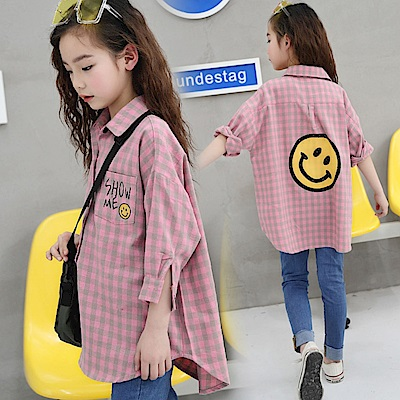 小衣衫童裝 中大童卡通微笑臉粉綠格長袖襯衫