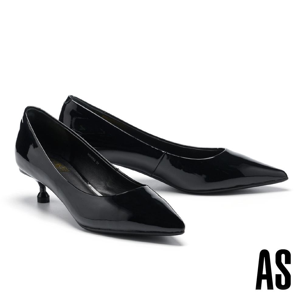 高跟鞋 AS 極簡純色漆皮尖頭高跟鞋-黑