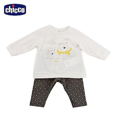chicco-可愛動物系列-點點長袖套裝-灰(12-24個月)