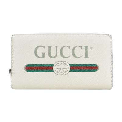 GUCCI PRINT系列LOGO紅綠織帶標誌小牛皮拉鍊長夾(白)