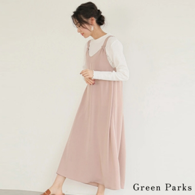 Green Parks 【SET ITEM】特色後背吊帶洋裝+素面圓領上衣