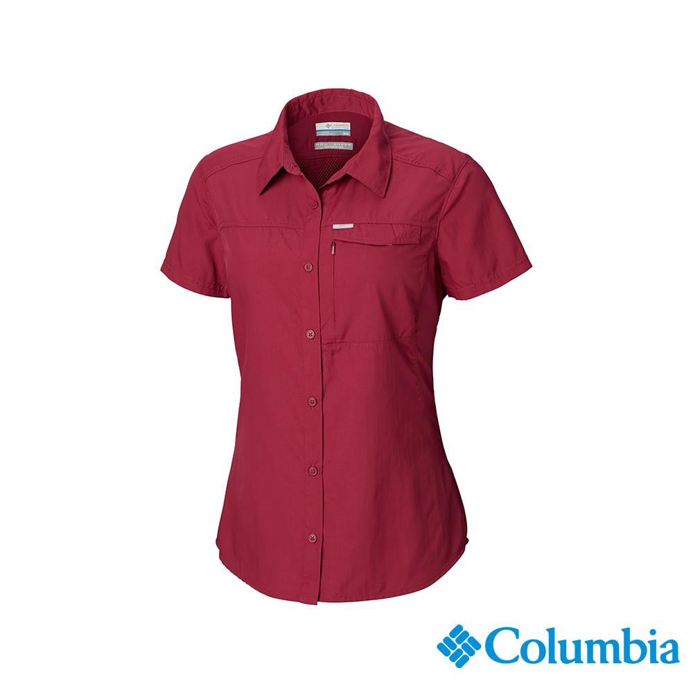Columbia 哥倫比亞 女款-UPF50快排短袖襯衫-紫紅UAK26540PD