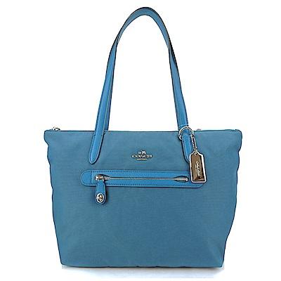 COACH 馬車LOGO金屬飾牌前口袋托特包(藍綠)(展示品)