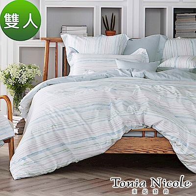 (活動)東妮寢飾 湛藍之水環保印染100%精梳棉兩用被床包組(雙人)