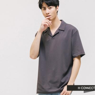 H:CONNECT 韓國品牌 男裝 -造型領口上衣 - 深灰色
