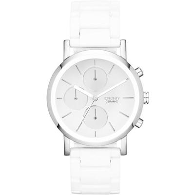 DKNY 強眼定番都會三眼時尚腕錶(NY8896)-銀白