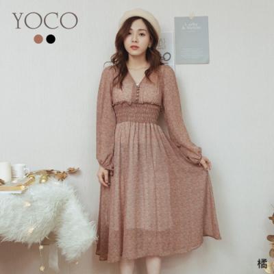 東京著衣-YOCO 浪漫歐風V領碎花顯腰身長洋裝(共二色)