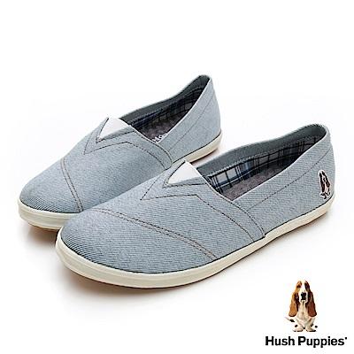Hush Puppies 率性牛仔咖啡紗懶人鞋-淺藍