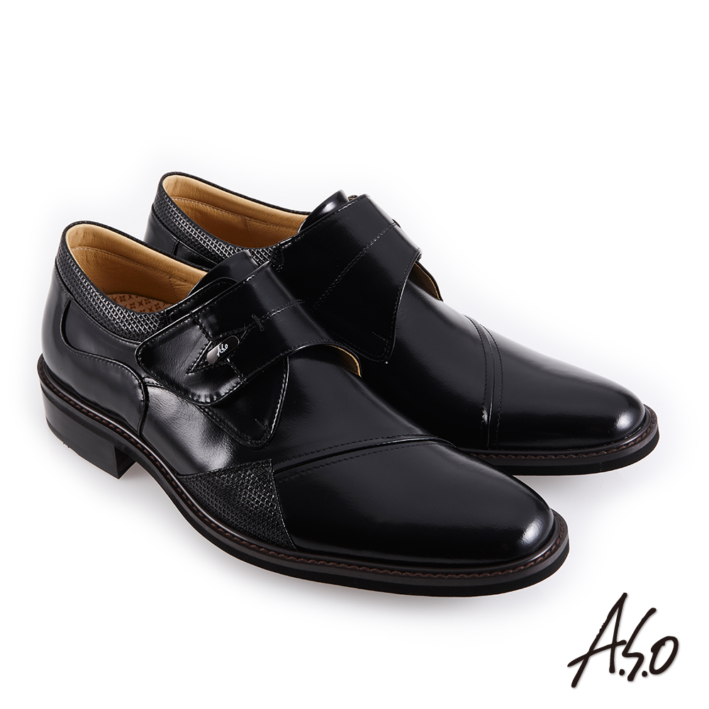 A.S.O職場通勤 霸足氣墊防潑水魔鬼氈紳士鞋-黑