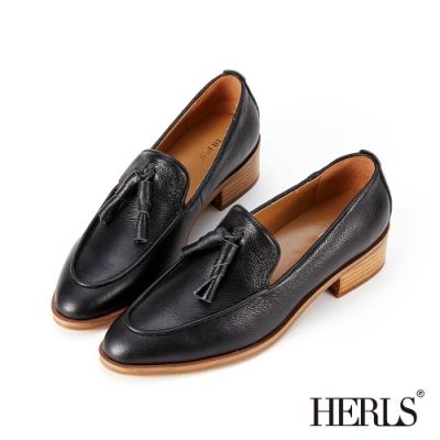 HERLS樂福鞋-全真皮捲心流蘇尖頭粗跟樂福鞋-黑色