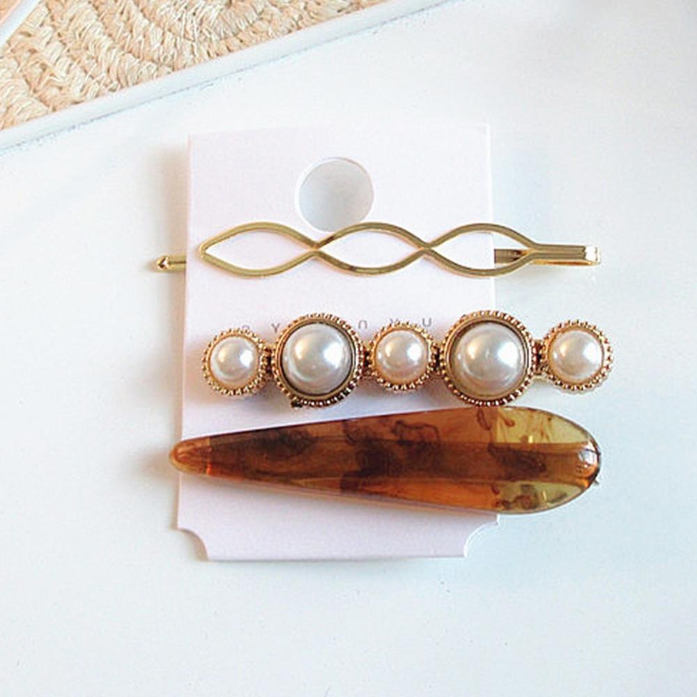 Hera 赫拉 氣質韓風大理石紋髮夾珍珠邊夾組合-2款