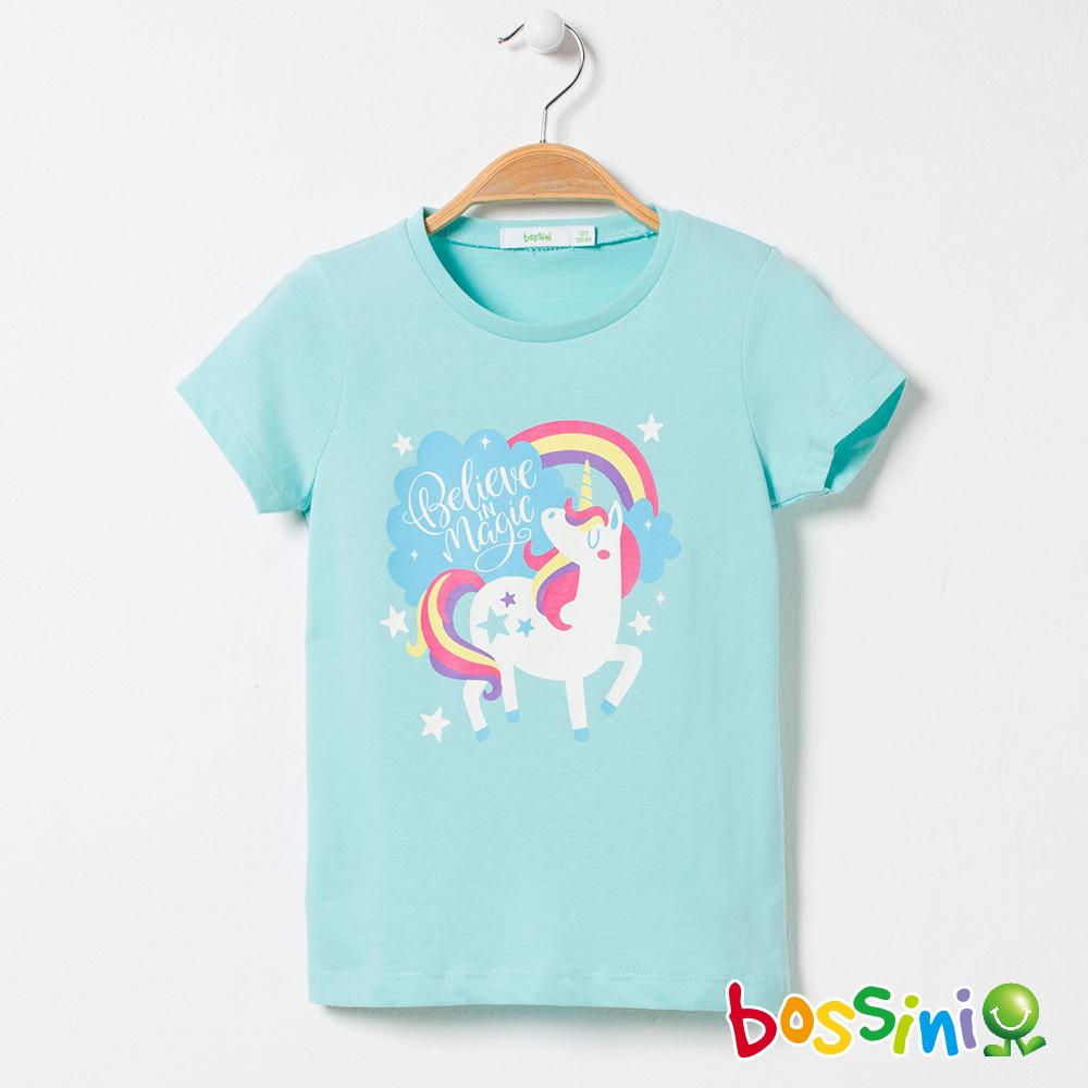 bossini女童-印花短袖T恤02粉藍