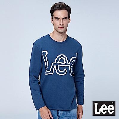 Lee LOGO 長袖圓領Tee-藍色