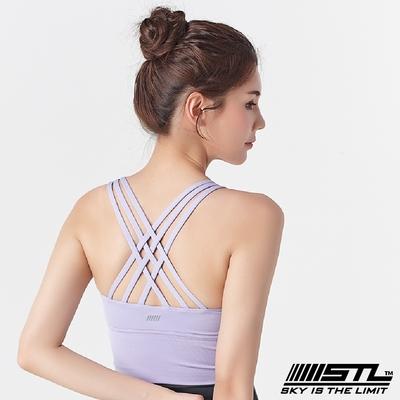 STL Yoga Crop Top Bra 123 韓國瑜伽 女子高度支撐(專利記憶棉胸墊)機能運動內衣/短版上衣 編織甜美紫SweetPurple