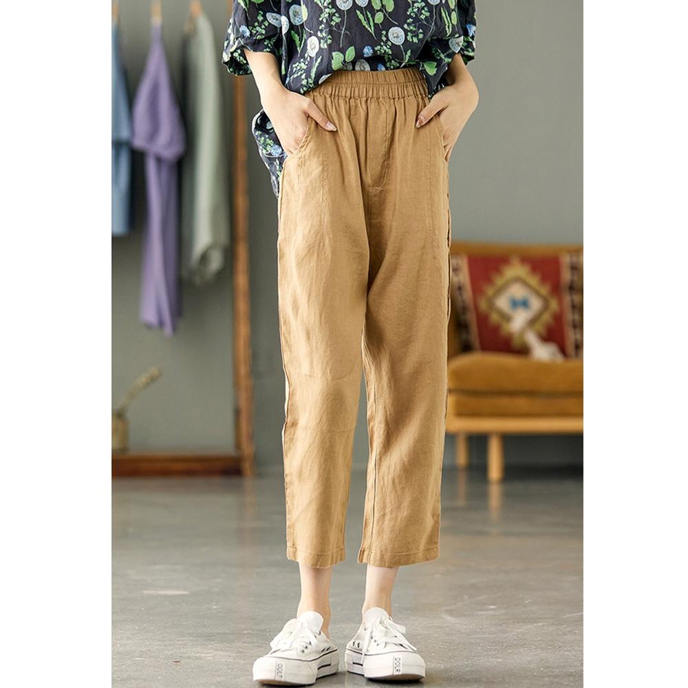 高腰顯瘦亞麻褲內包邊哈倫褲-設計所在 (奶咖色)