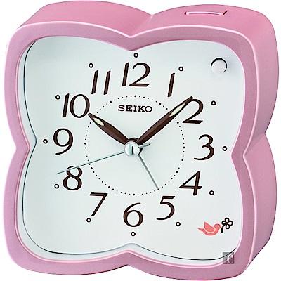 SEIKO 精工 森林系列 靜音鬧鐘(QHP009P)-白x粉/9.8cm