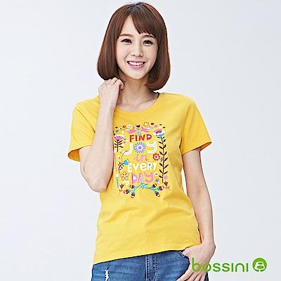 bossini女裝-印花短袖T恤11深黃