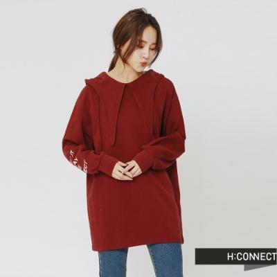 H:CONNECT 韓國品牌 女裝 - 造型連帽印字上衣-紅(快)