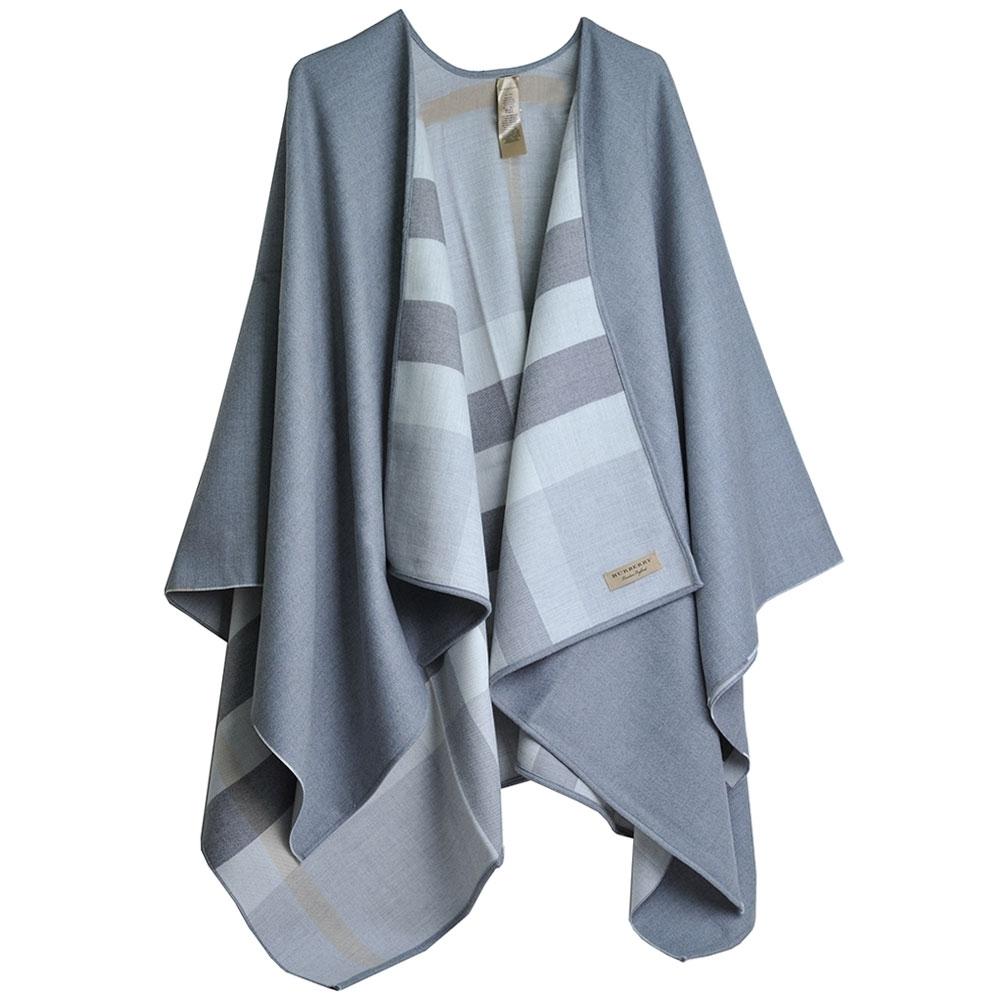 [品牌日限定]BURBERRY 義大利製雙面用格紋特級美麗諾羊毛斗篷 product image 1