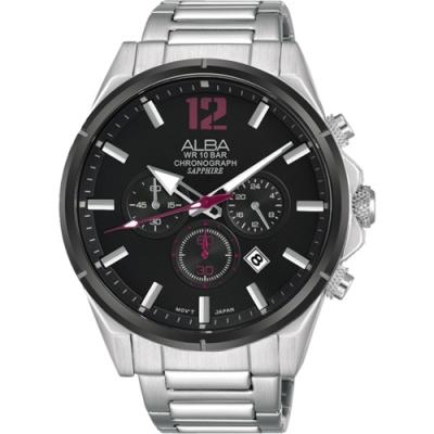 ALBA雅柏 ACTIVE 運動桃色計時手錶43mm(VD53-X297D/AT3D31X1)