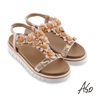 A.S.O 時尚流行 夏季輕量花飾造型休閒底台涼鞋-卡其