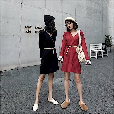 DABI 韓國風百搭卷邊撞色V領針織長袖洋裝