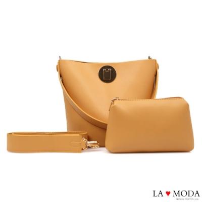 La Moda 時尚品牌感粗帶大容量肩背斜背子母包(米黃)
