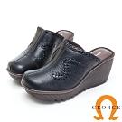 GEORGE 喬治皮鞋 素面編織契型穆勒鞋-黑色