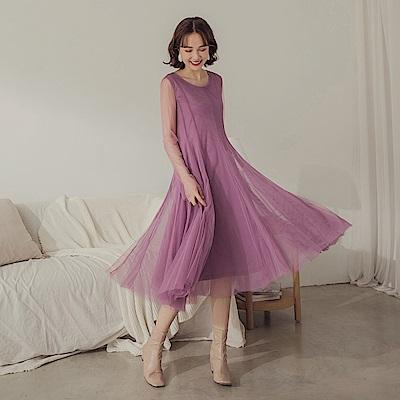 純色修身袖透視紗裙長袖洋裝-OB嚴選