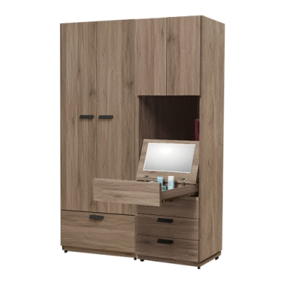 文創集 多德蒙4.5尺衣櫃(吊衣桿+四抽+鏡面抽屜+開放層格)-135x60x197免組