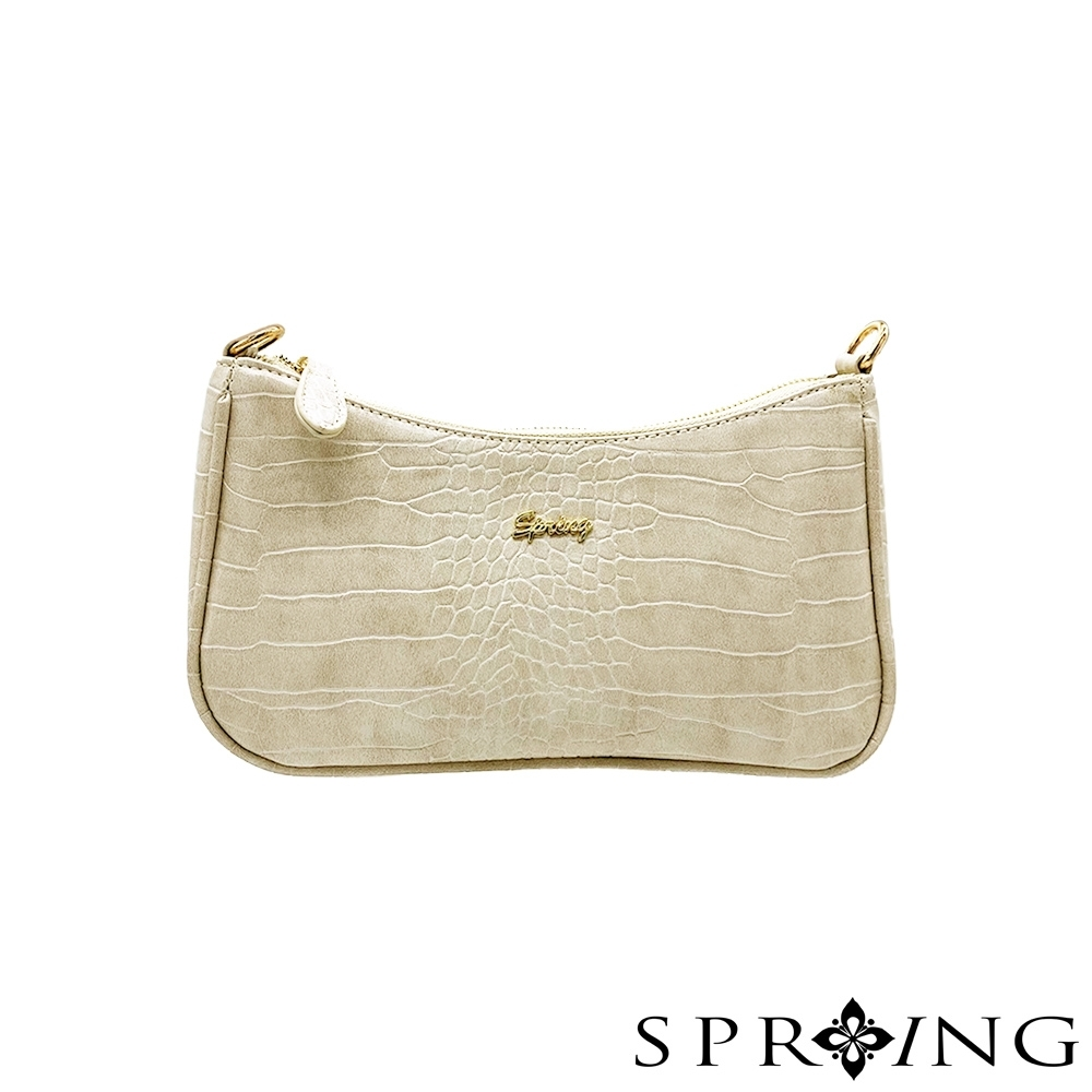 SPRING-圓弧鱷魚皮肩背包-優雅米黃