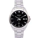 SEIKO 經典款男性手錶 (SUR209P1)-黑面X銀色/42mm