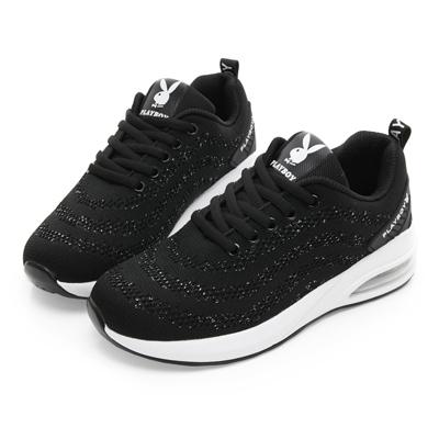 PLAYBOY 閃耀亮蔥綁帶氣墊休閒鞋-黑-Y5282CC