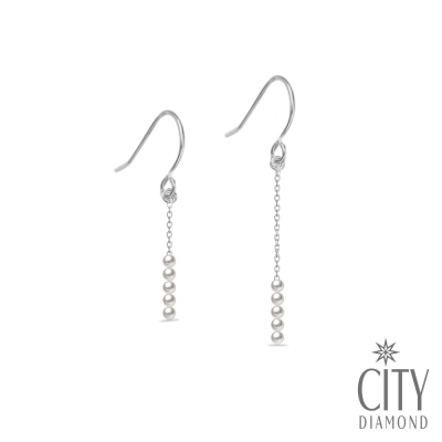 City Diamond引雅  手作設計系列  人造珍珠不對稱耳環