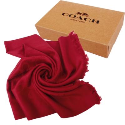 COACH 經典LOGO 羊毛流蘇絲巾圍巾禮盒(紅)
