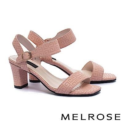 涼鞋 MELROSE 簡約細緻一字帶刀割牛皮粗高跟涼鞋-粉