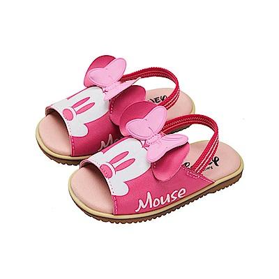 迪士尼童鞋 米妮 立體耳朵手工涼鞋-桃