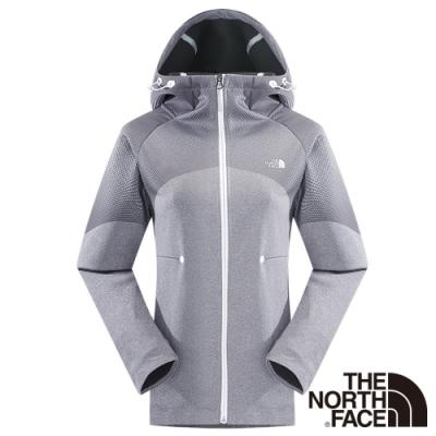 The North Face 女 LIGHTEN 兜帽外套 灰白印花-CYZ2BWE