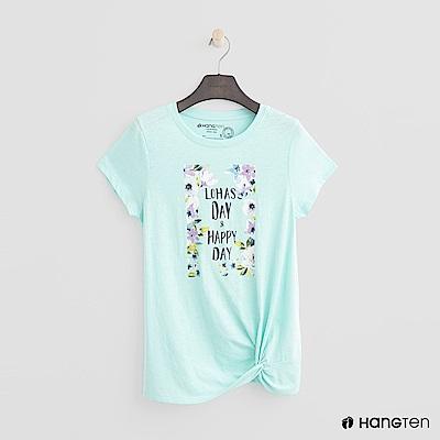 Hang Ten - 女裝 - 扭結下擺花樣T恤 - 綠