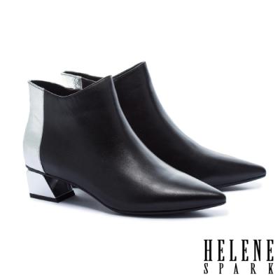 短靴 HELENE SPARK 簡約時尚金屬感拼接全真皮尖頭低跟短靴-黑