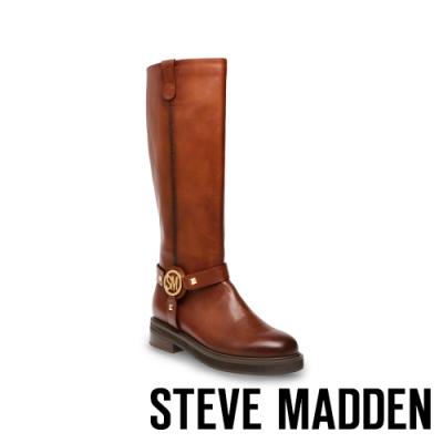 STEVE MADDEN-MADMAX 時尚前衛款 金屬飾釦造型長靴-咖啡色