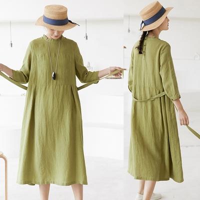 法式優雅14支極細亞麻洋裝長裙-設計所在