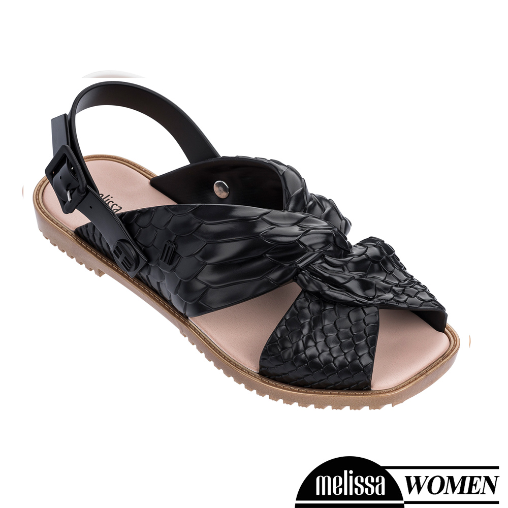 Melissa+Baja East 蟒蛇凸紋質扭結造型涼鞋-黑